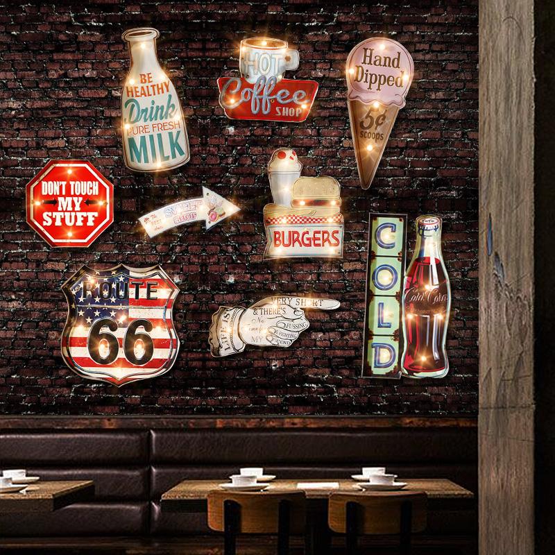 美式複古奶茶店酒吧 牆麵軟裝飾品 家居餐廳飯店牆上小掛件
