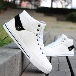 Mens fashion high shoes hip hop shoes in spring and autumn within the trend of white sports shoes increased Korean men