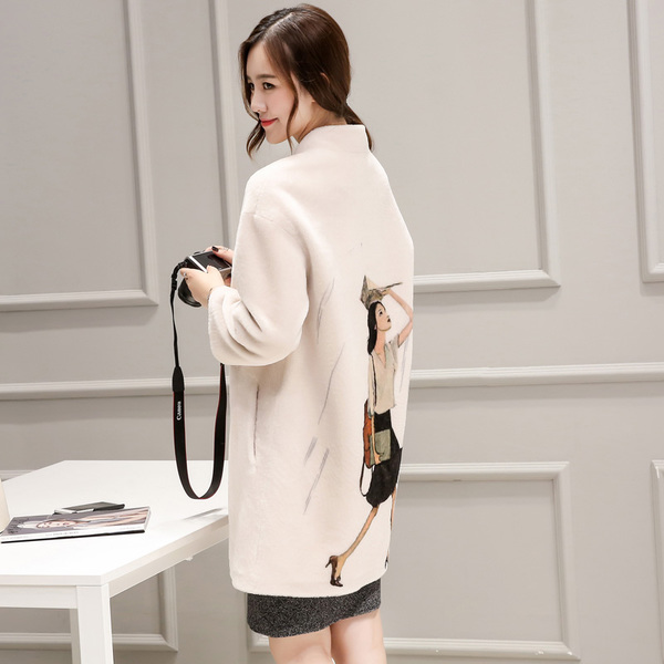 Yang Jianrong fur female 2016 winter new Haining wool printing long section collar coat Slim 3597F