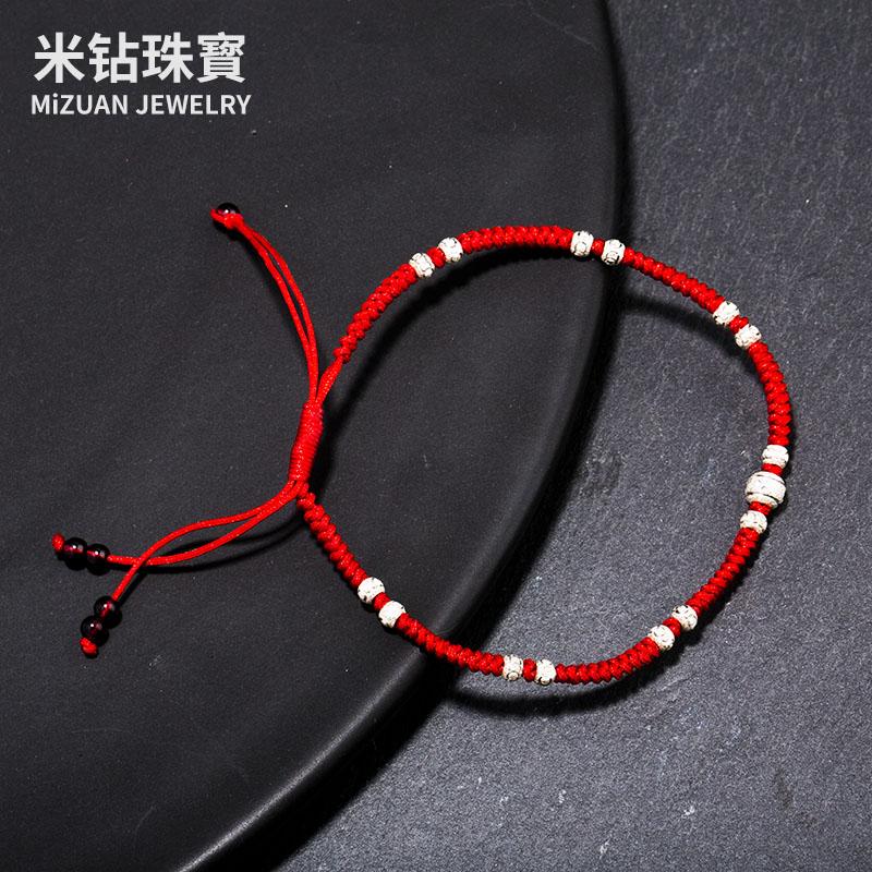 925純銀女生本命年紅繩腳鏈鈴鐺轉運珠紅色足鏈 編織腳環情侶
