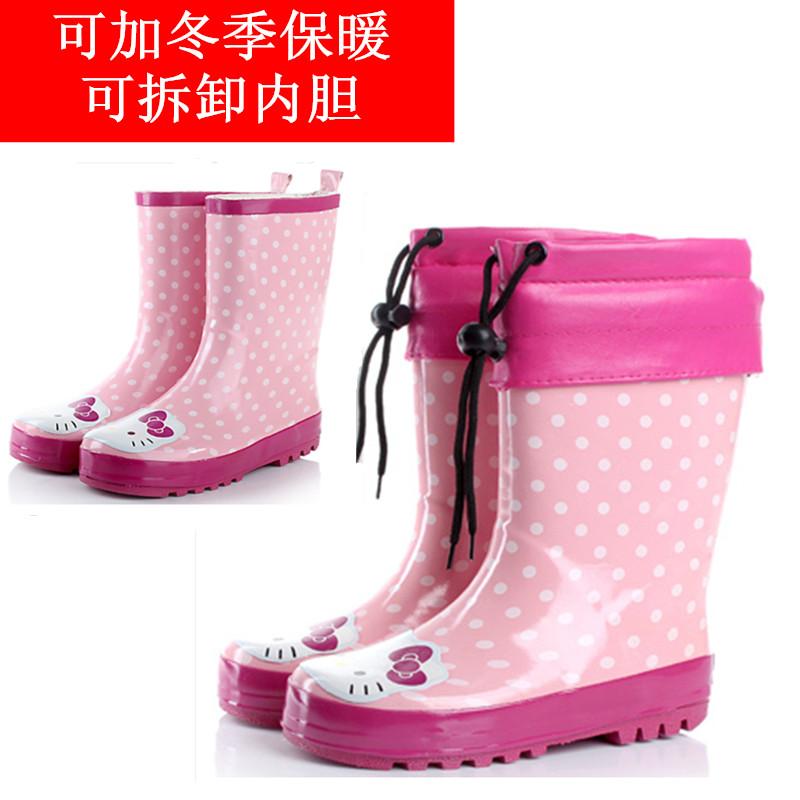 Дождь сапоги милый кот дождя сапоги Розовые девочки родитель ребенок дождь ботинок дождя сапоги новые KT кошки теплые сапоги