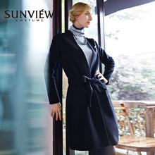 SUNVIEW/Shangyao Special Store Autumn and Winter New Large Collar, Tibetan Blue, Elegant Belt, Double-sided Nylon Wool Overcoat