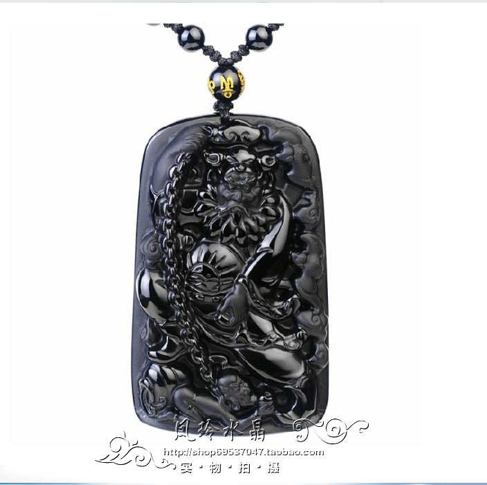 Kaiguang natural frosted Obsidian chain Zhong Kui pendant dispels evil spirits and turns evil spirits into evil spirits