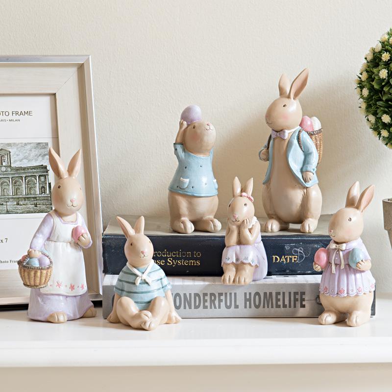 樹脂兔子家居裝飾品擺件客廳酒櫃工藝品擺設可愛卡通小動物