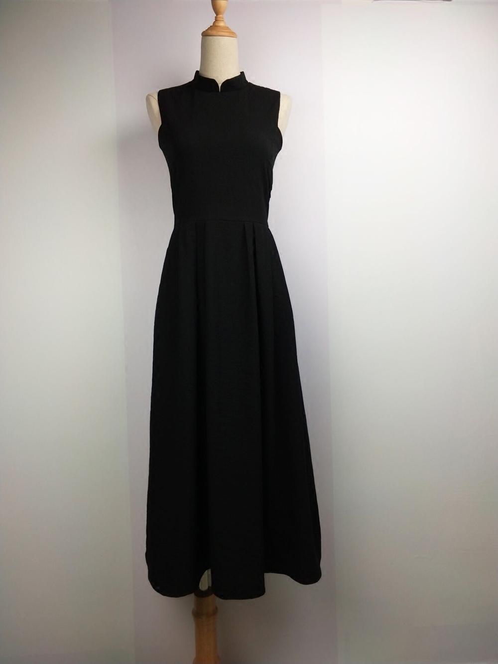 假一赔三白苏与老男人点灯复古改良黑裙旗袍