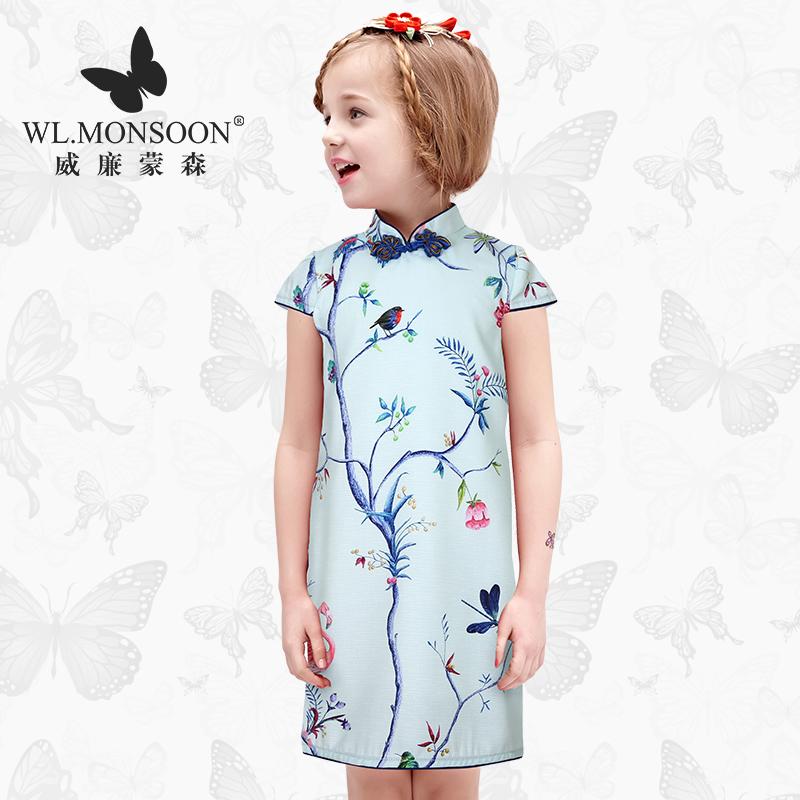 儿童旗袍裙女童夏季宝宝裙子修身中大童民族风连衣裙亲子母女裙装