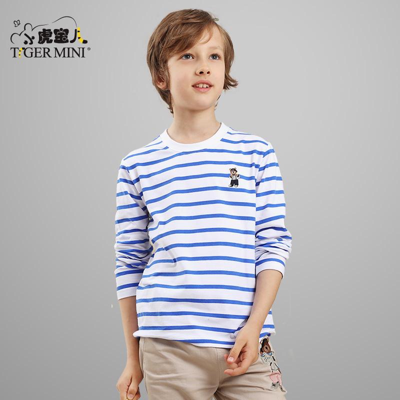 男童t恤長袖 兒童小熊條紋棉質秋裝中大童上衣 卡通圓領