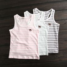 The boy h stripe vest Bamboo cotton stripe vest Embroidery children in children's wear in summer