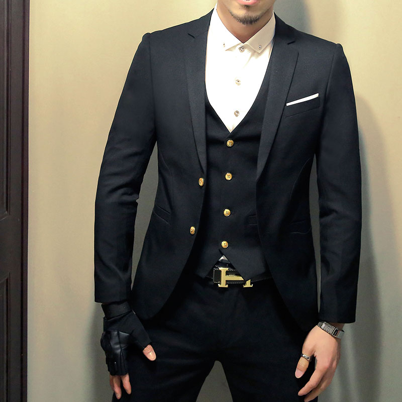 Spring and summer men's three-piece suits Korean Slim small suit professional dress and groom best man wedding dress