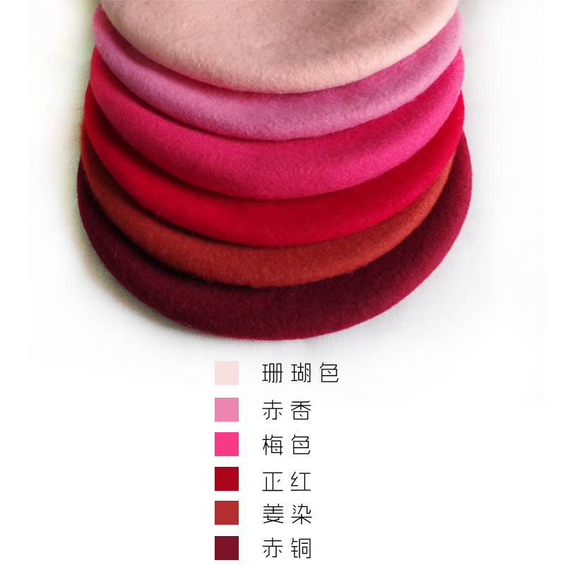 City wild deer Ishihara rimei autumn and winter wool BERET female literature and art Japanese retro lady painter Hat Red