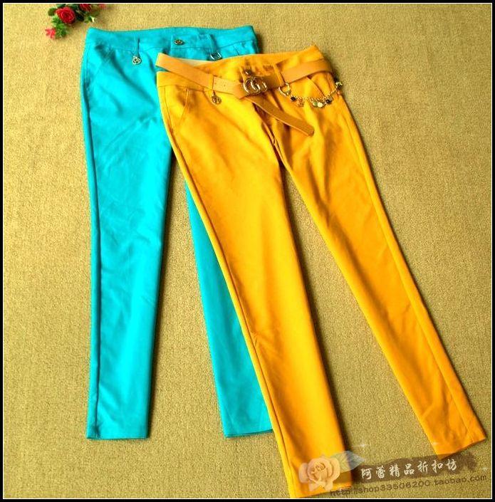 Алей квадратных бутик скидка Европейский комфорт микро эластичный тонкий сплошной цвет стиль Корейский досуг брюки D4-3
