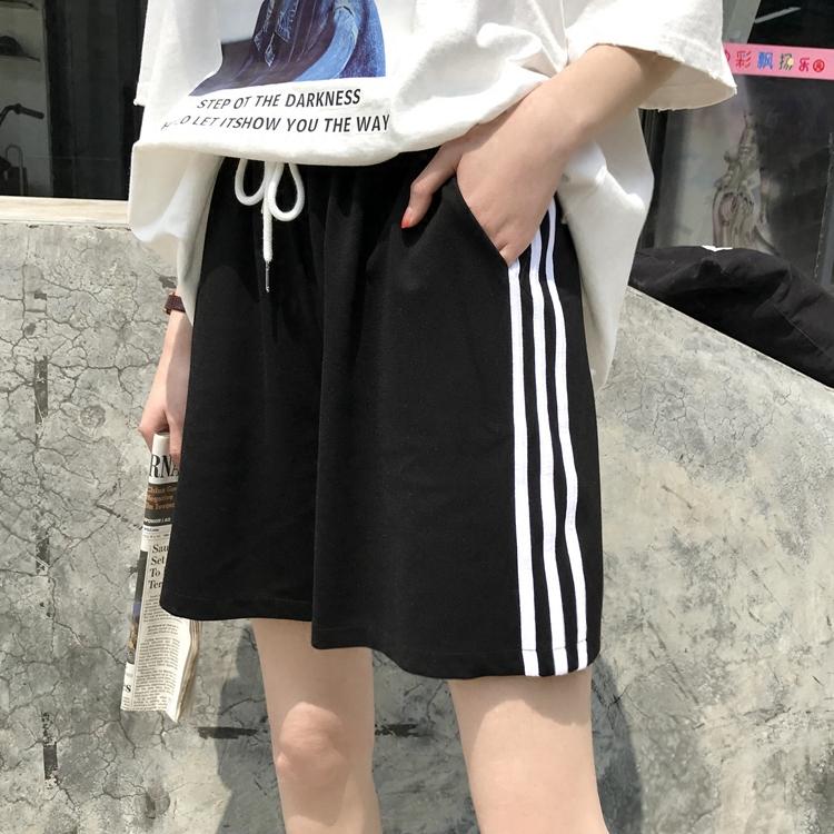夏季侧边白条纹宽松阔腿高腰休闲运动系带短裤黑色女裤