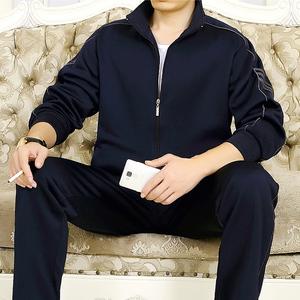 中年男士运动套装春秋冬季大码中老年加绒加厚跑步卫衣休闲运动服