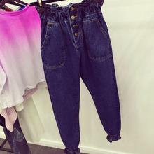 Special!!!! 2015 retro buds Han Guodong gate four button show thin elastic waist high waist jeans trousers pocket