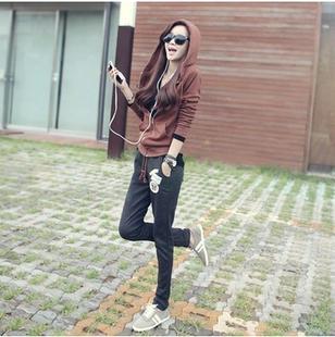 韩国春秋修身 休闲运动套装 连帽卫衣女长裤 显瘦时尚 女外套两件套潮