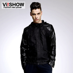 Viishow2015 spring loaded rib cloth men's Hooded Cardigan jacket men in Europe and baseball jackets men's tide