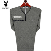 Playboy Sweater New Autumn mens knitted shirt v collar thin sweater casual pure color Bottom shirt