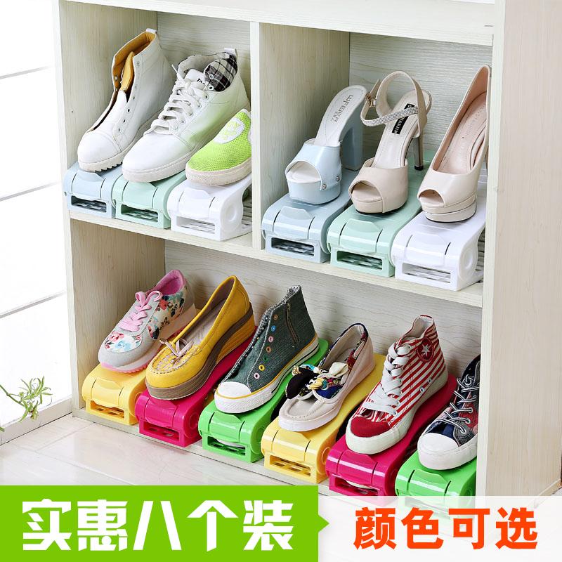 家居用品日韓式加厚一體式鞋托架收納鞋架簡易雙層塑料可調節鞋架