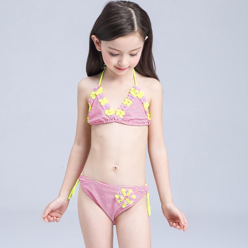 2016 New Childrens Swimwear Fashion Lovely Sweet Child Split Bikini Swimwear Baby Girl Swim Suit