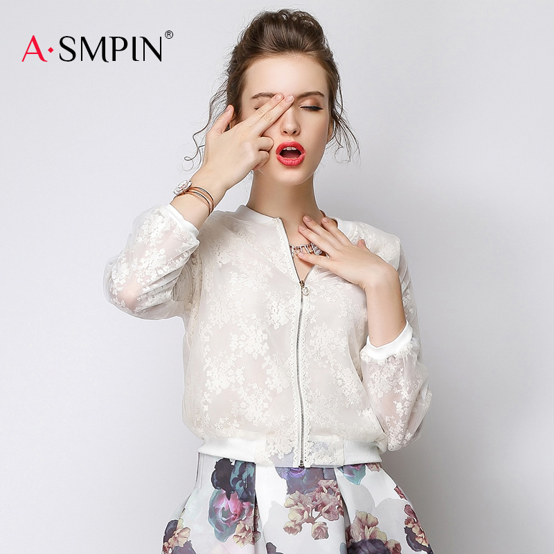 2020 Organza Baseball Jacket Small Coat embroidery long sleeve slim fit short hollow thin cardigan female as14cwt023