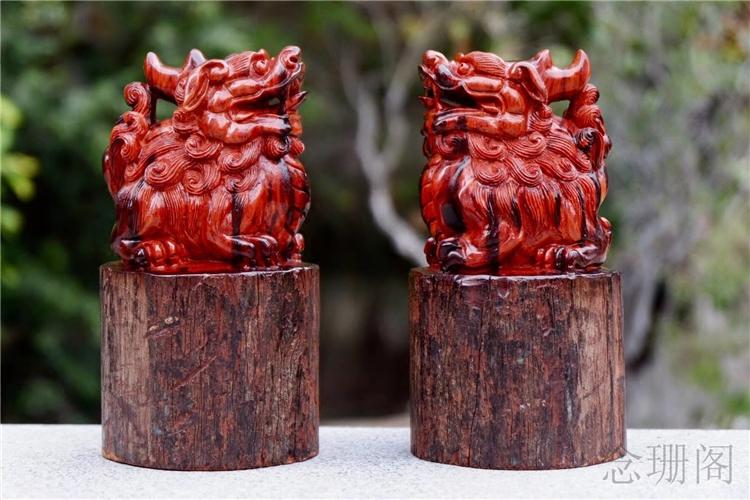 木雕摆件印度小叶紫檀拆房老料招财貔貅送礼装饰工艺品创意中式