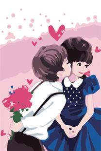 Kiss diy digital painting 20 * 30 diy oil painting part of Valentine's lovers festival gifts