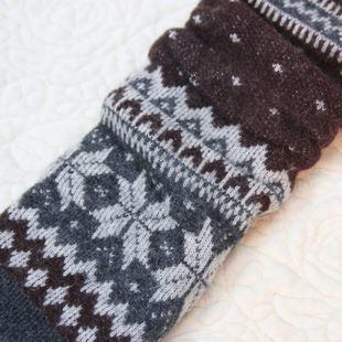 FF, thickened wool sock, Nordic style winter warm sock, snowflake thickened sock