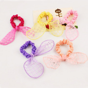 Cool na Korean and European roots gauze Plaid Butterfly hair band hair rabbit ears first circle of 6490