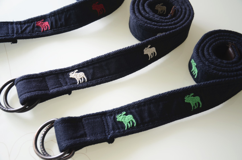 Foreign trade original single AF embroidery deer canvas casual double buckle mens AF belt mens AF soft pants belt