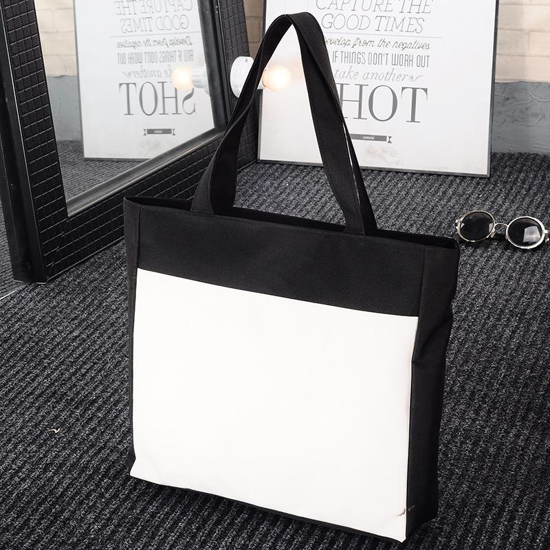 Передача тепла мешок стандарт сделанный на заказ черно - белый модельа холст мешок сумка горячей живопись diy печать logo