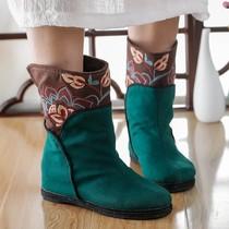 复古民族风绣花靴子千层底短靴老北京布靴内增高女靴春秋单靴棉靴