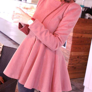 2015 new Nizi coat female woolen coat female autumn and winter long section of it pink coat jacket Slim big swing