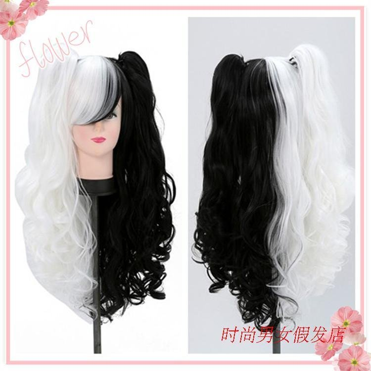 On the spot animation high temperature silk cos Girl Wig bullet on broken roller dance 80cm black and white bear claw clip long curly hair