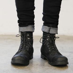 伞兵靴男潮复古休闲男鞋 美式 大头马丁靴男头层牛皮高帮靴子男春季