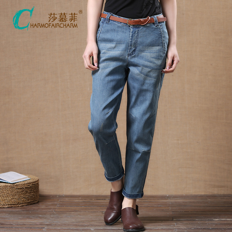 Original spring clothes new large loose Harlan jeans womens Capris slim fit casual pants trend