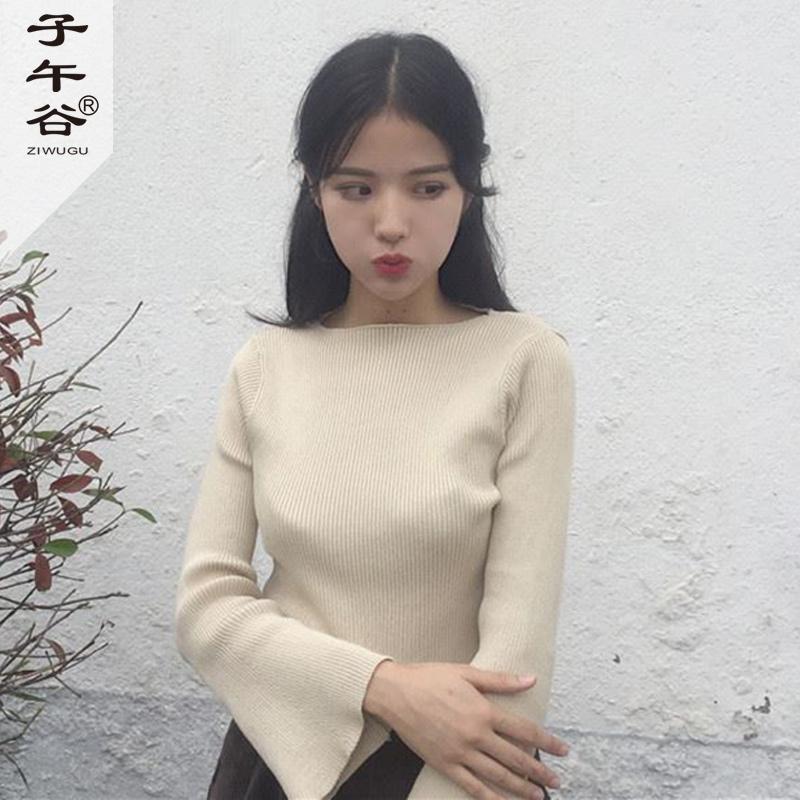 複古坑條純色喇叭袖針織衫