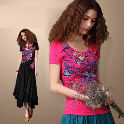 中国民族风女装夏款纯棉3D印花订珠t恤女短袖大码打底衫半袖上衣
