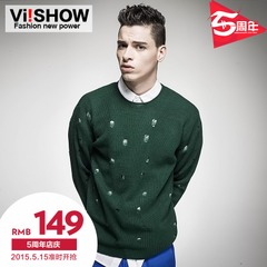 Spring sweaters men's Turtleneck t hole viishow2015 skinny knit wool blend yarn