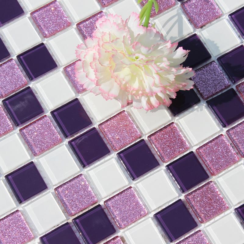 (用1元券)紫色水晶玻璃马赛克卫生间背景墙
