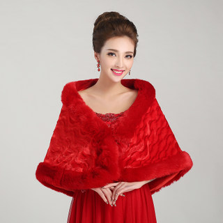 Honey made accessories wedding dress shawl thickened woolly shawls all roads lead to shawl red shawl pj002-