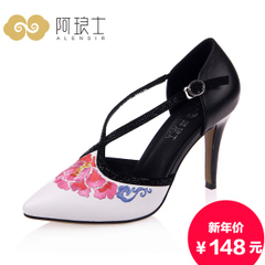 Special offer clearance Alang ethnic embroidery women sandal leather high heel stiletto pointed women's Sandals 092