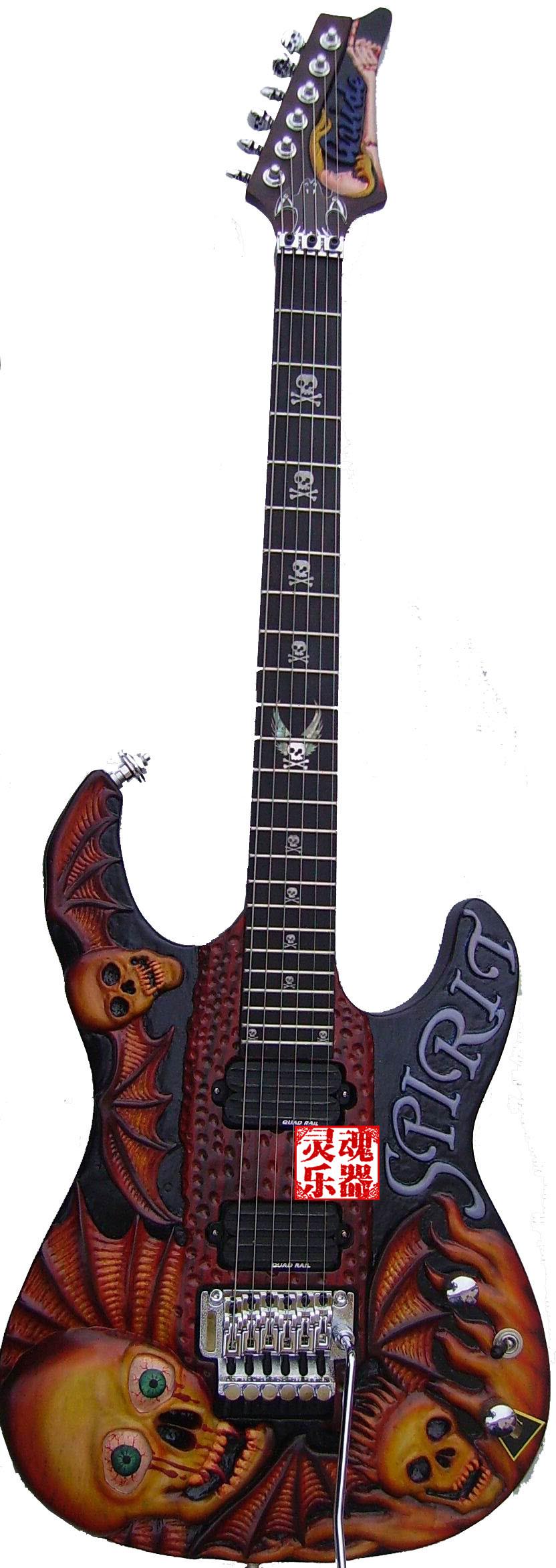 骷髅电吉他摇滚重金属电吉他 大师手工雕刻电吉他 异形电吉他包邮
