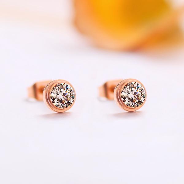 彩金 單鑽耳釘鍍18K玫瑰金女鋯石耳飾鈦鋼飾品耳環耳針