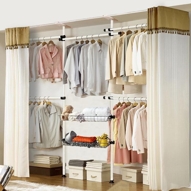 多功能组合衣服架钢架粗顶天立地创意衣帽架卧室落地简易挂衣架
