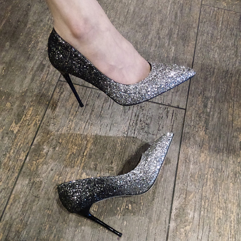 Silver Sequin pointed high-heeled shoes womens thin heeled stars same trend gradual show single SHOES BRIDAL SHOES wedding shoes
