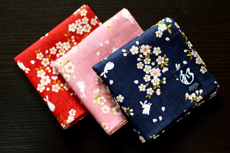 日本制 和风大手帕手绢 竹节棉 女士用 花间兔52*52cm