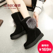 Kang Jiao increased winter boots high heel leather tube in Fox Fur snow boots fur shoes boots nubuck