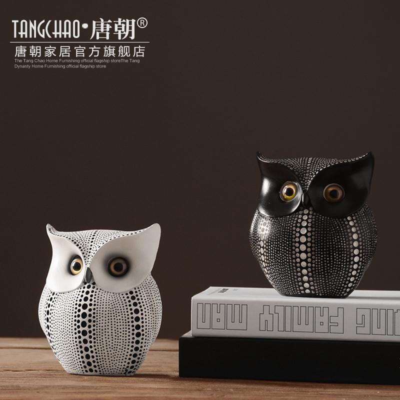 北歐擺件 簡約家居辦公室裝飾品擺設軟裝樹脂 工藝品貓頭鷹