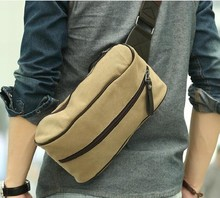 Han edition tide chest package Fashion leisure canvas bag One shoulder aslant man satchel