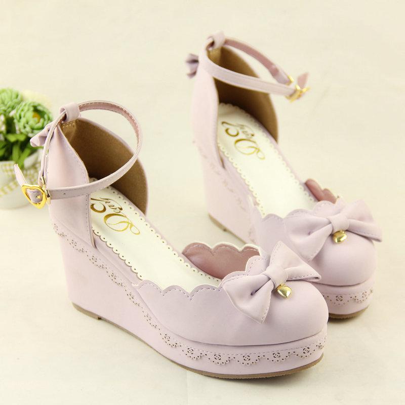 现货香香奈日系甜美洛丽塔公主lolita蝴蝶结厚底坡跟女单鞋子软妹